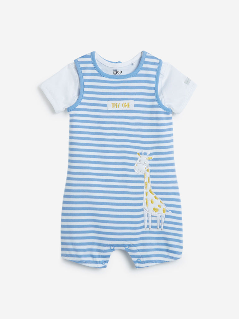 Baby HOP Blue Striped Onesie with T-Shirt