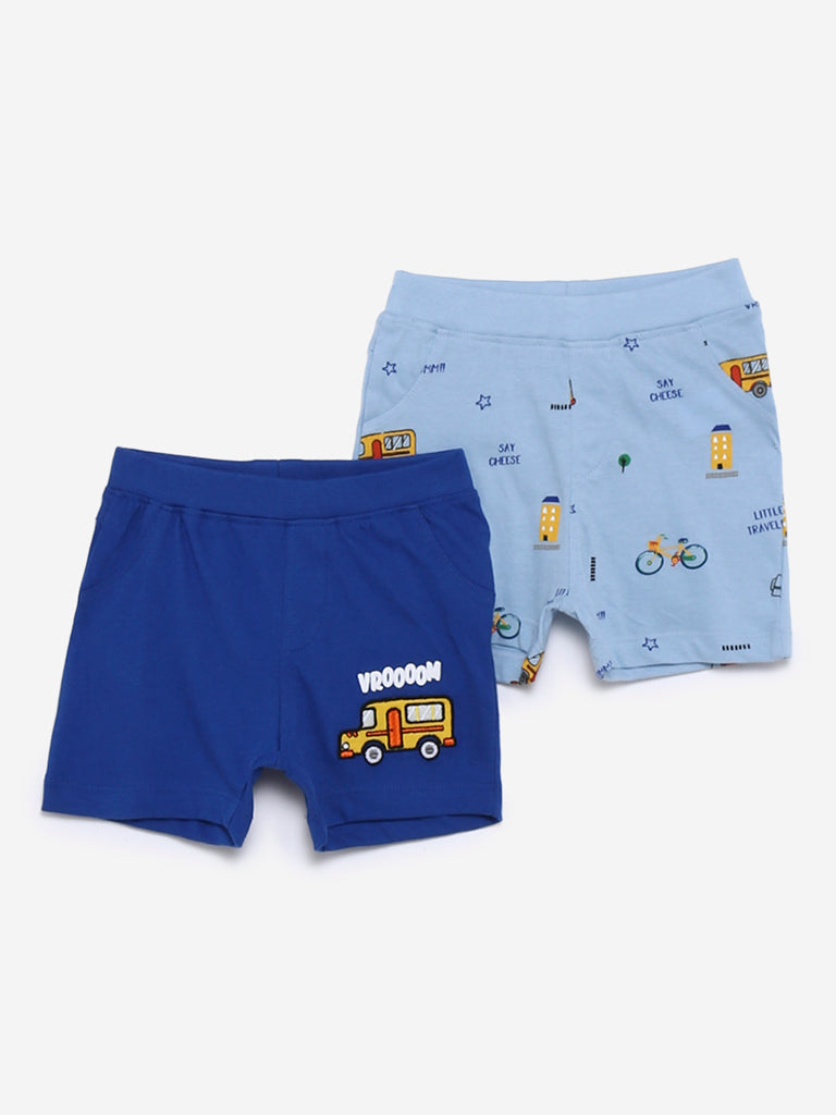 Baby HOP Blue Vehicle Print Shorts Set of Two