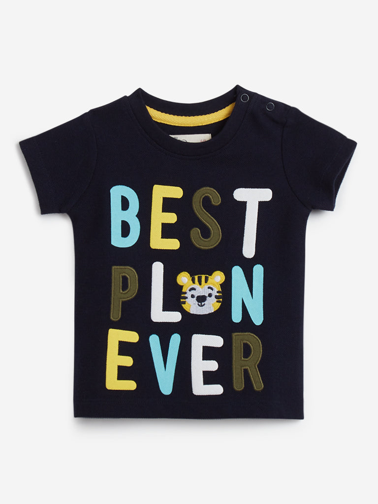 Baby HOP Navy Typographic Pattern T-Shirt