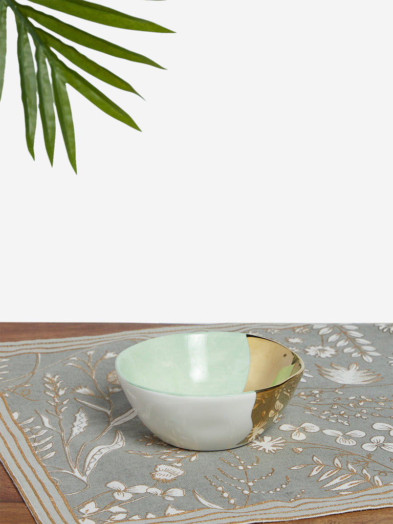 Westside Home Light Green And Gold Porcelain Small Bowl