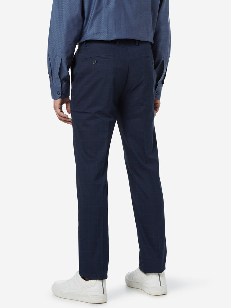 WES Formals Navy Carrot Fit Checkered Trousers