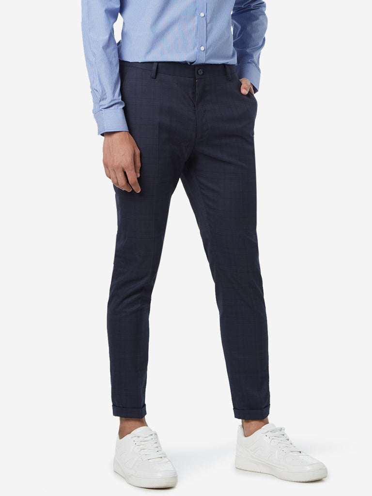 WES Formals Navy Carrot Fit Checked Trousers