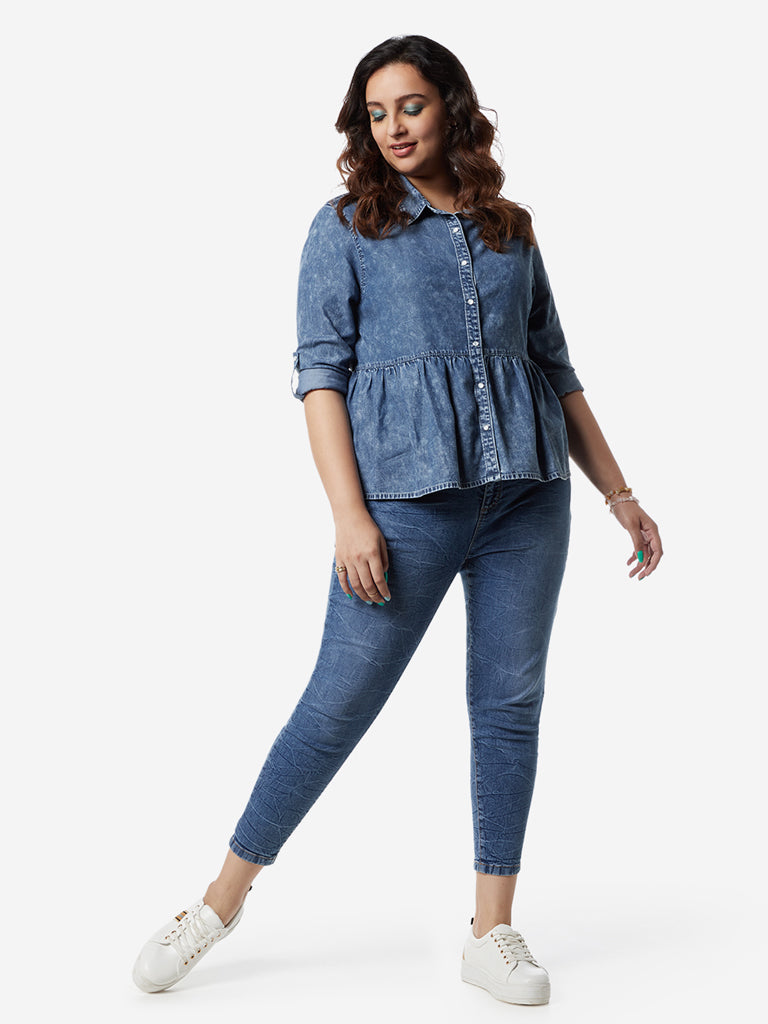 Sassy Soda Curves Blue Denim Peplum Top
