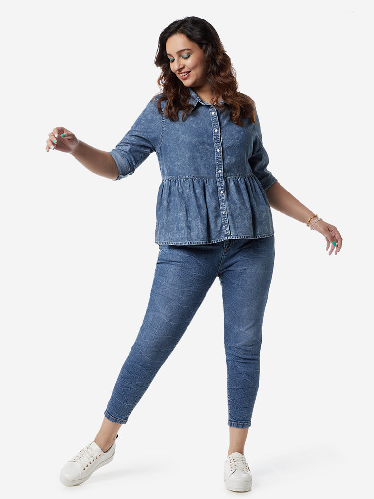 Sassy Soda Curves Blue Oliver Cropped Jeans