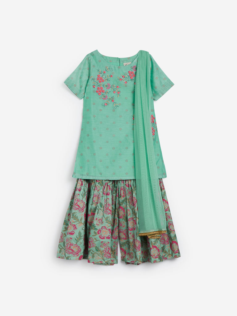 Utsa Kids Light Green Floral Sharara Set