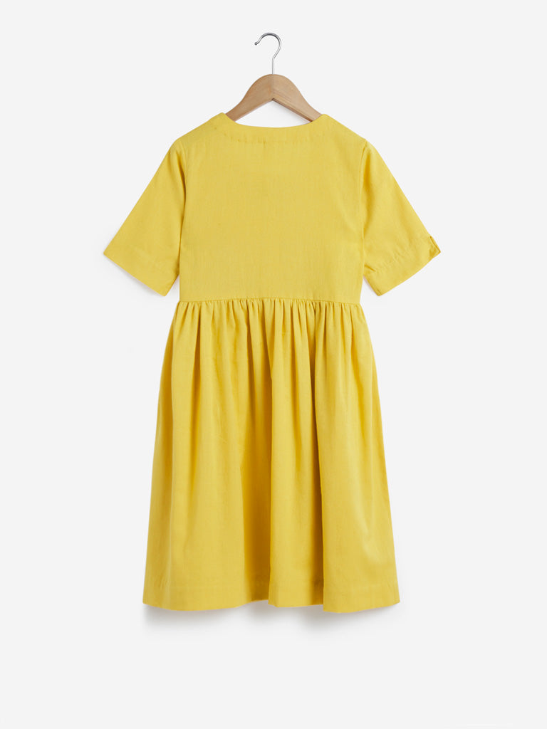 Utsa Kids Yellow Fit-And-Flare Dress