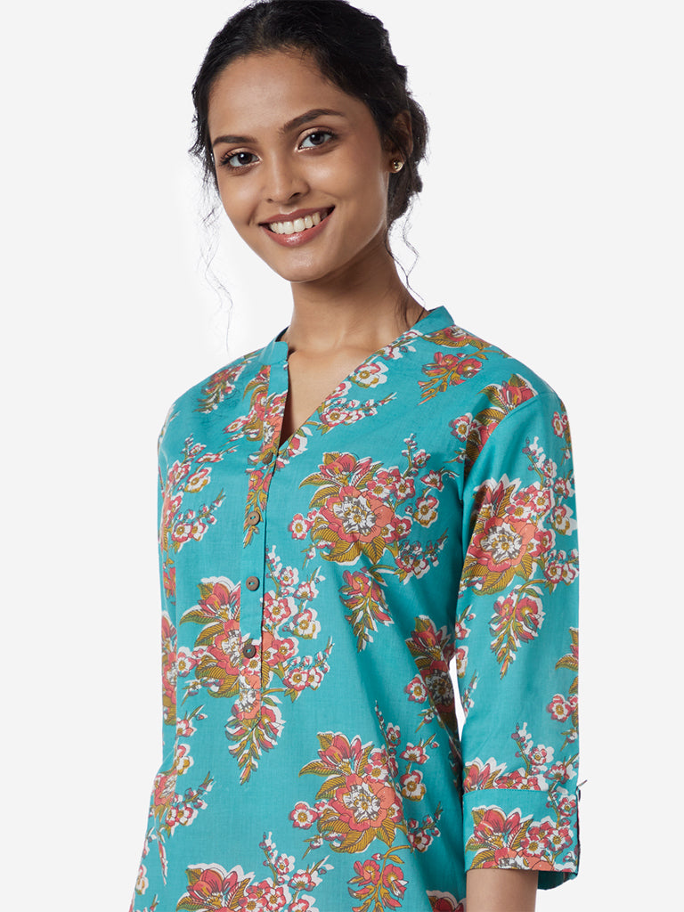 Utsa Turquoise Floral Patterned Straight Kurta