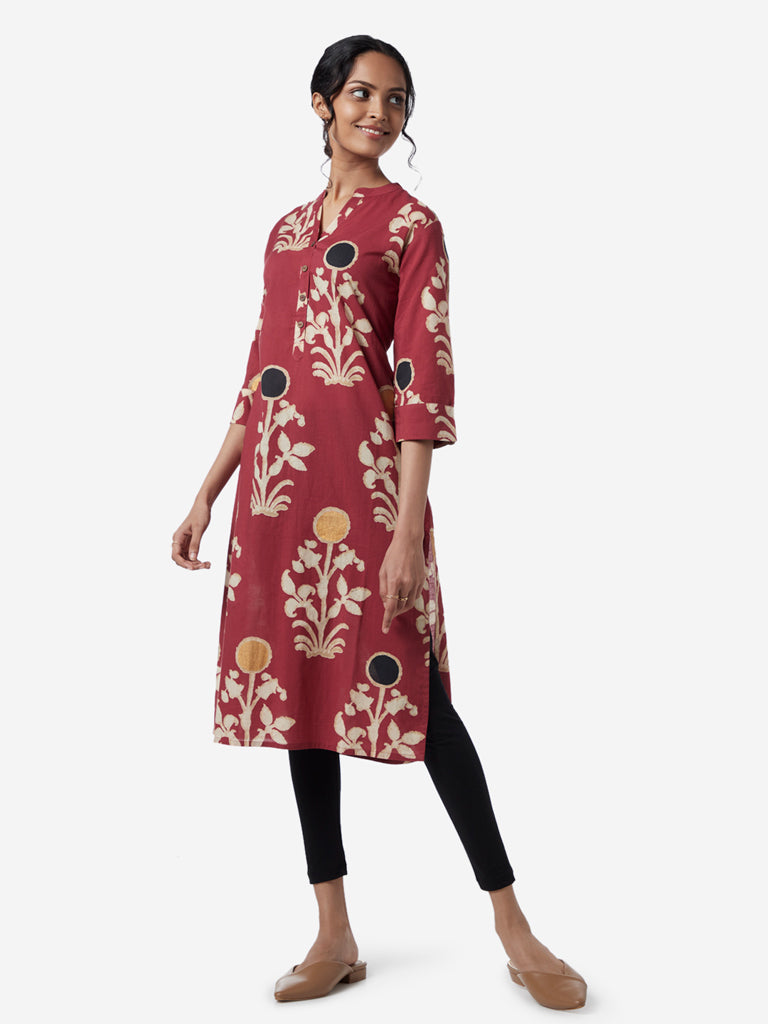 Utsa Red Ethnic Print Straight Kurta