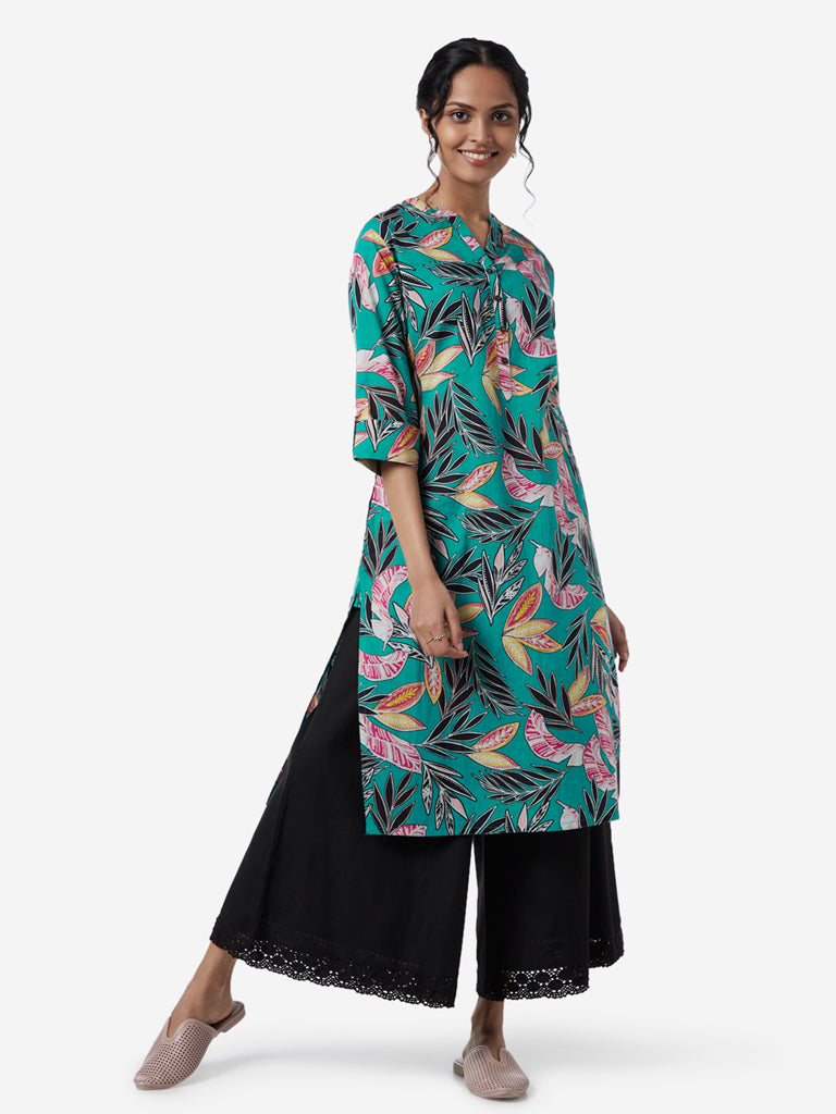 Utsa Multicolour Leaf Design Straight Kurta