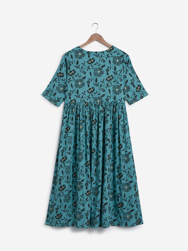 Utsa Blue Floral Design Fit-And-Flare Kurta