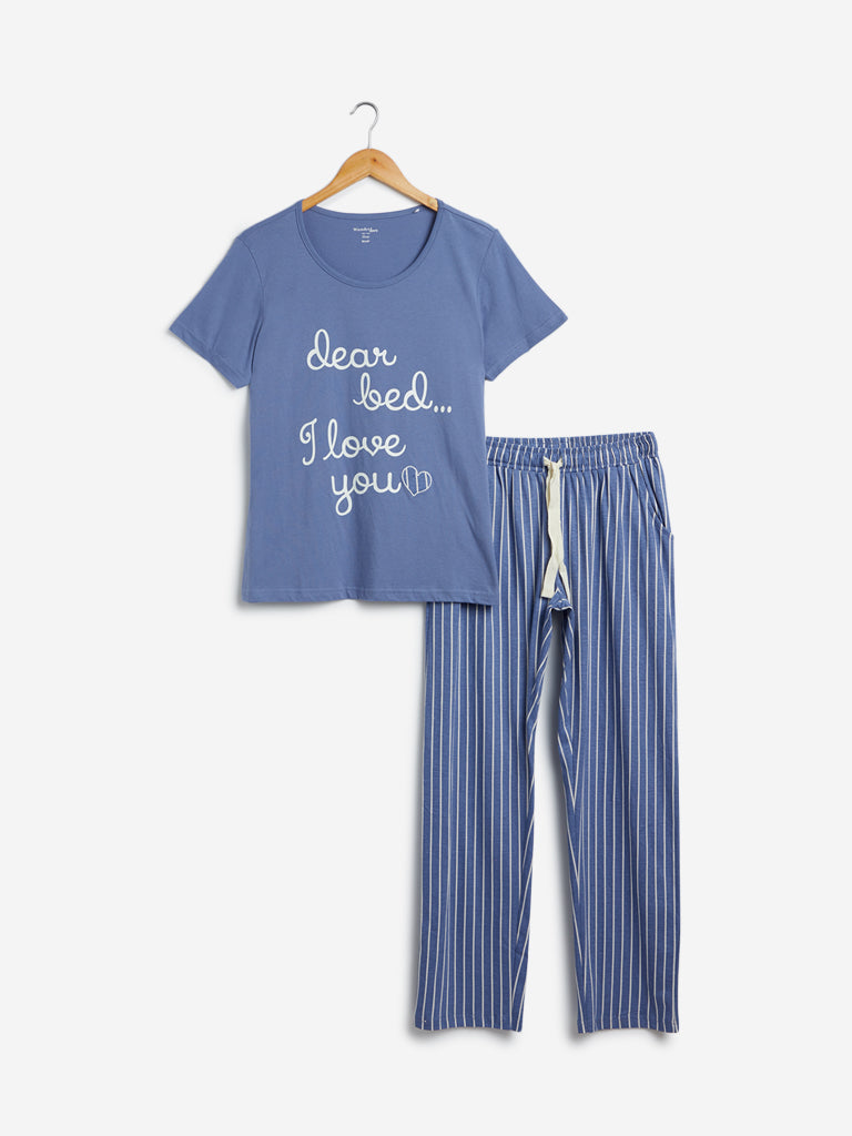 Wunderlove Blue T-Shirt And Pyjamas Set