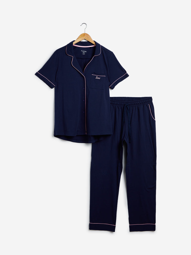 Wunderlove Navy Pure Cotton Shirt And Capris Set
