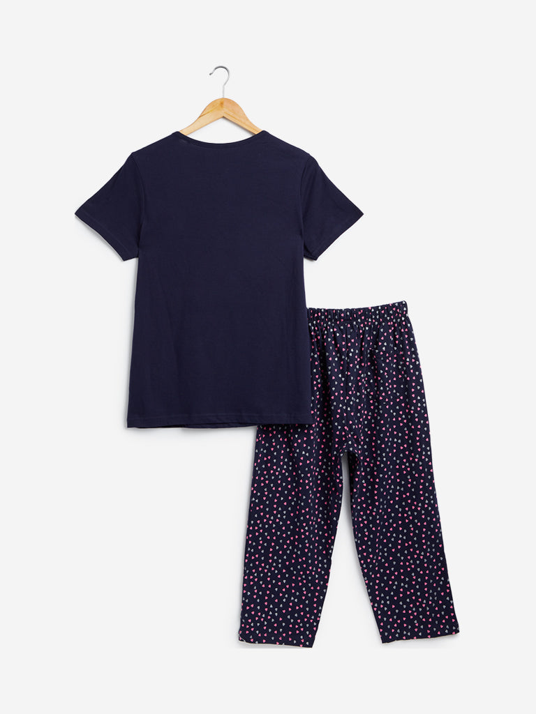 Wunderlove Navy T-Shirt And Pyjamas Set