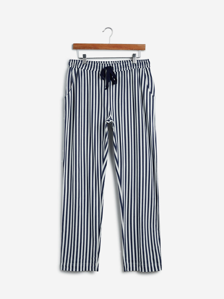 Wunderlove Navy Striped Cotton Pyjamas