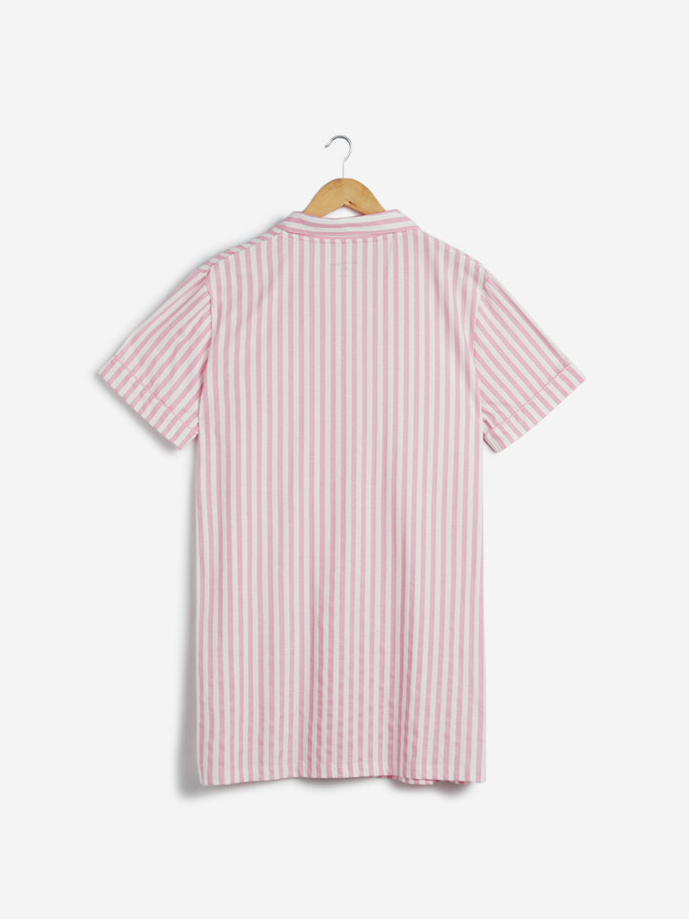Wunderlove Pink Striped Cotton Night Shirt