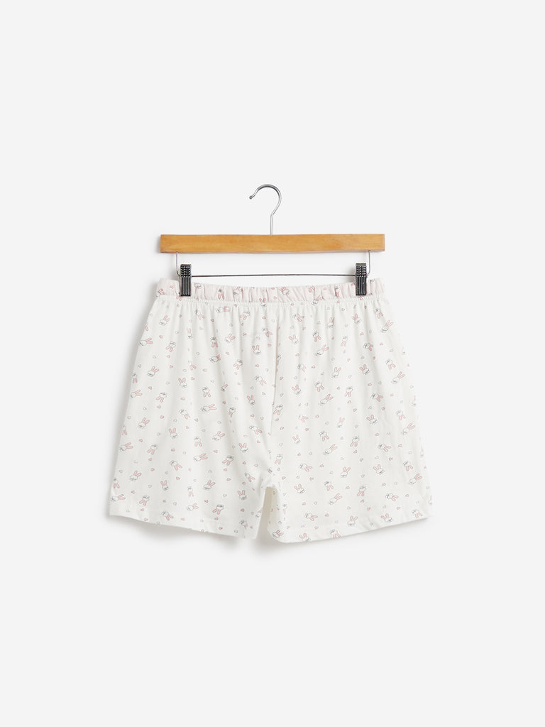 Wunderlove White Rabbit Print Shorts