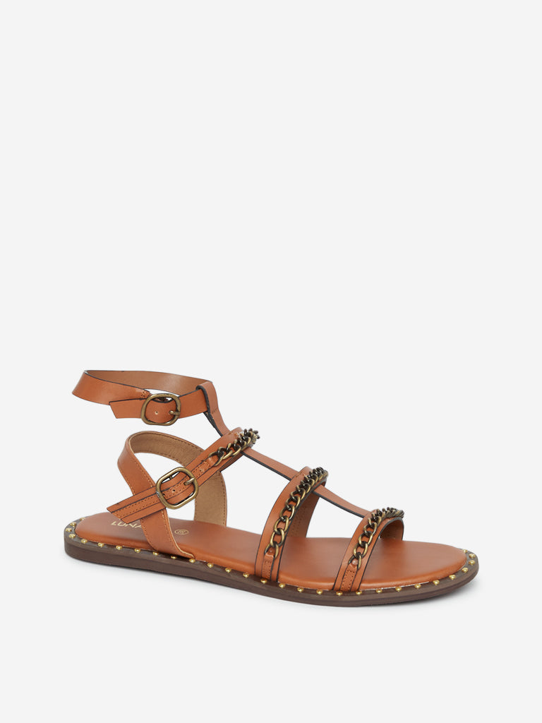 Luna Blu Brown Chain-Design Gladiator Sandals