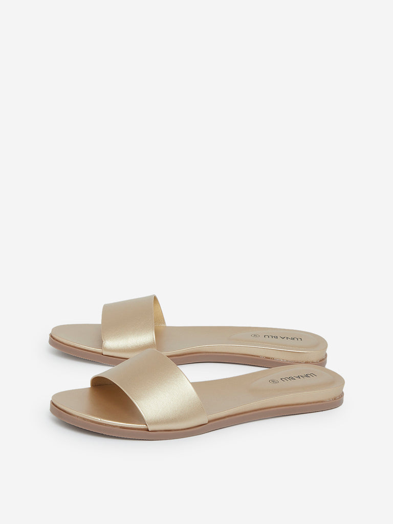 LUNA BLU Gold Slides