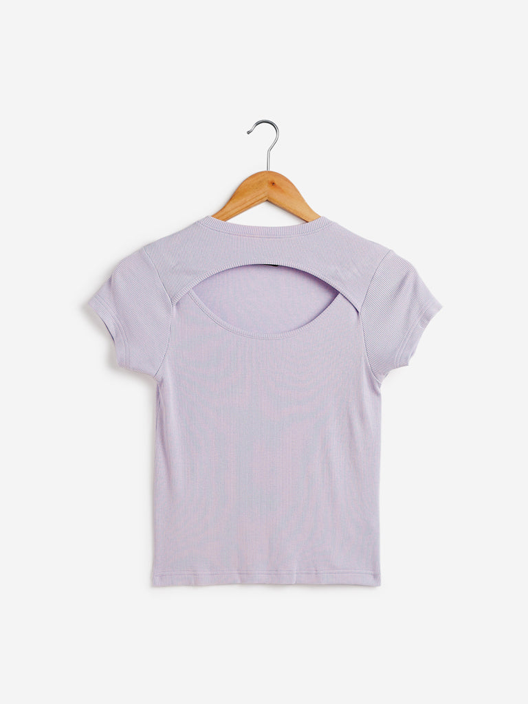 Nuon Lilac Ribbed Crop-Top