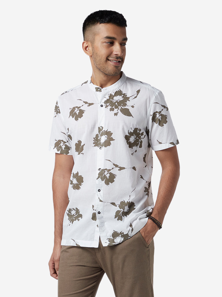 ETA White Resort Fit Floral Design Shirt