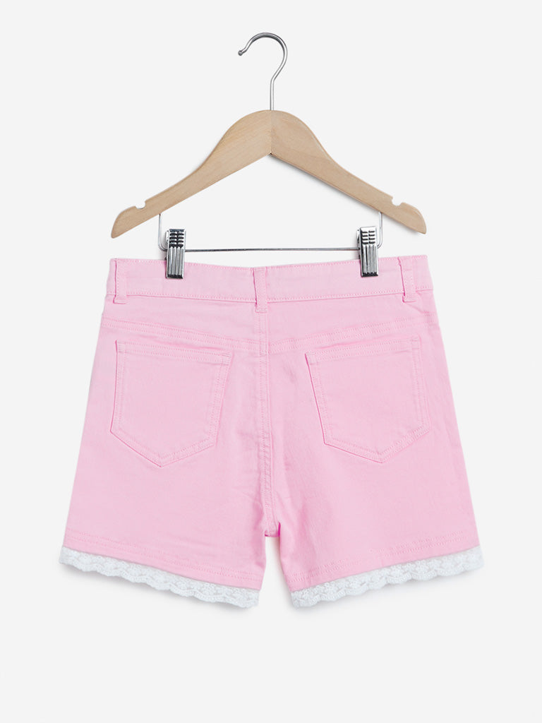 Y&F Kids Pink Lace-Detailed Shorts