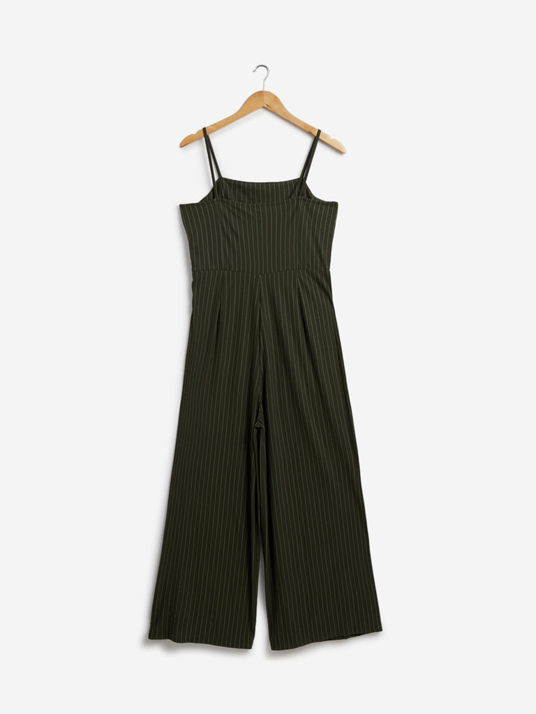 Nuon Khaki Striped Nalinska Jumpsuit