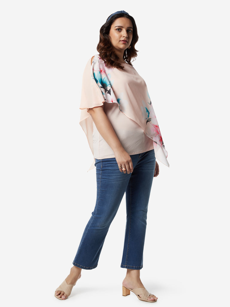 Gia Curves Peach Floral Print Asymmetrical Top