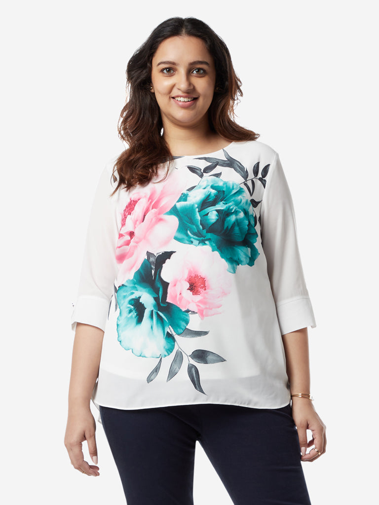Gia Curves White Floral High-Low Jovi Top