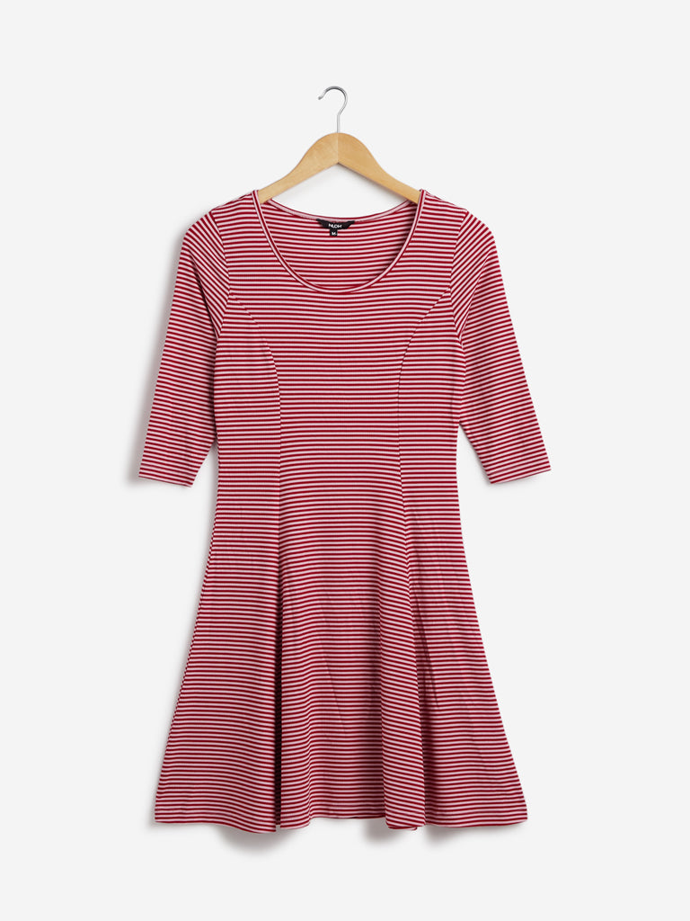 Nuon Red Striped Fit-And-Flare Rachel Dress
