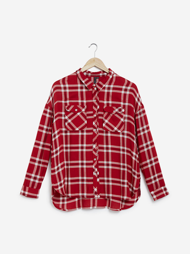LOV Red High-Low Checkered Shirt