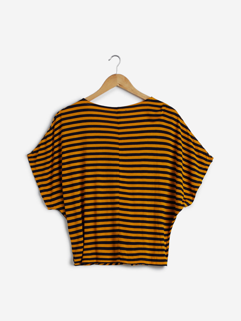 LOV Mustard Stripe Patterned Top