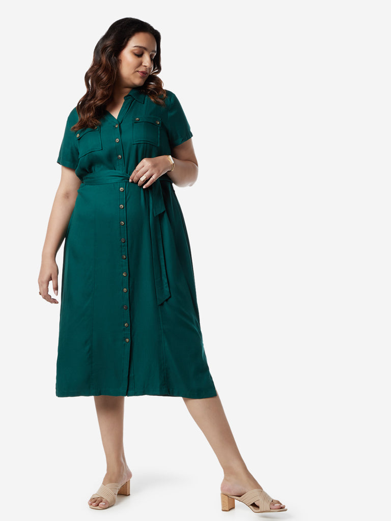 Gia Curves Dark Green Becka Shirtdress with Belt