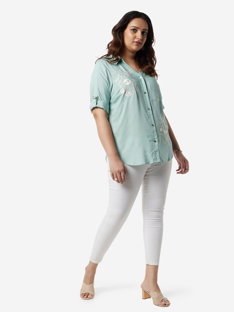 Gia Curves Mint Green Embroidered Casual Shirt