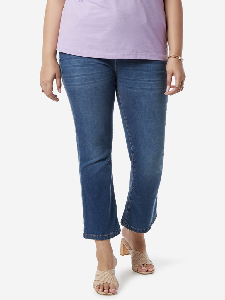 Gia Curves Blue Boot-Cut Cropped Jeans
