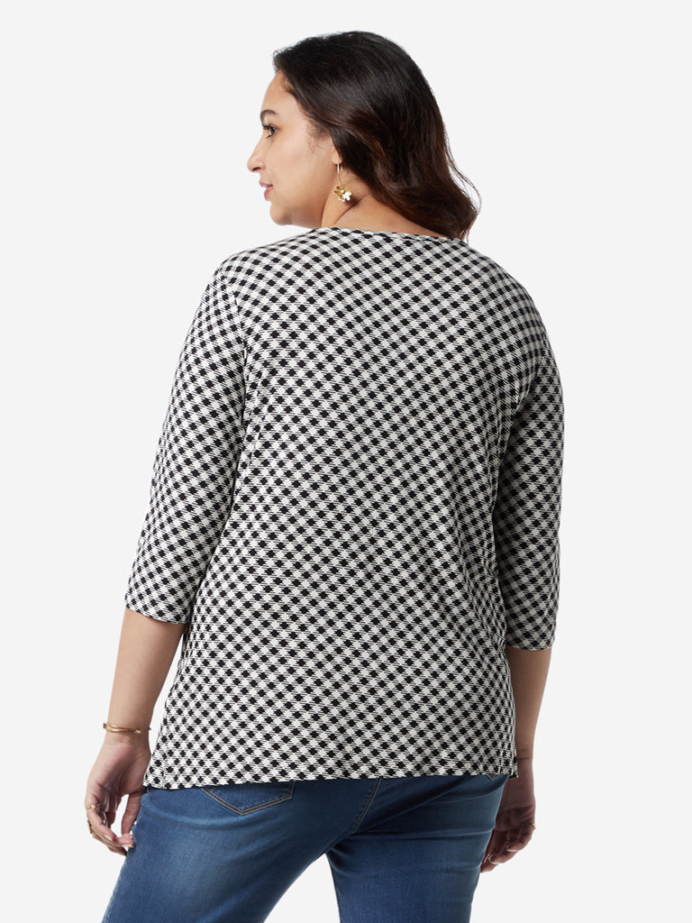 Gia Curves White Geometrical Print Varane Top