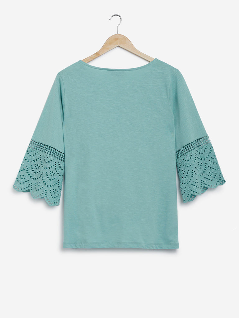 Gia Curves Mint Cut-Work Detail Zenith Top