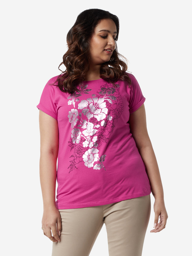 Gia Curves Pink Floral Patterned Bella T-Shirt