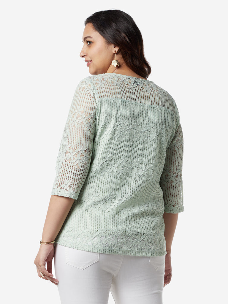 Gia Curves Mint Floral Lace Victor Top