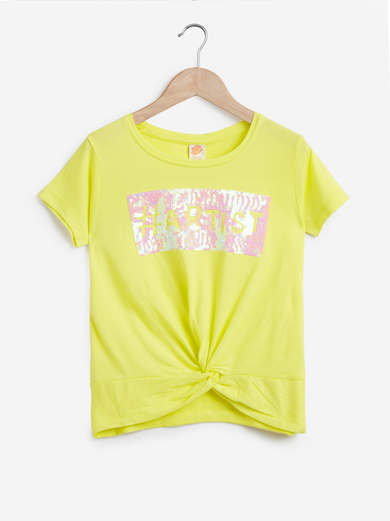 Y&F Kids Yellow Text Patterned T-Shirt