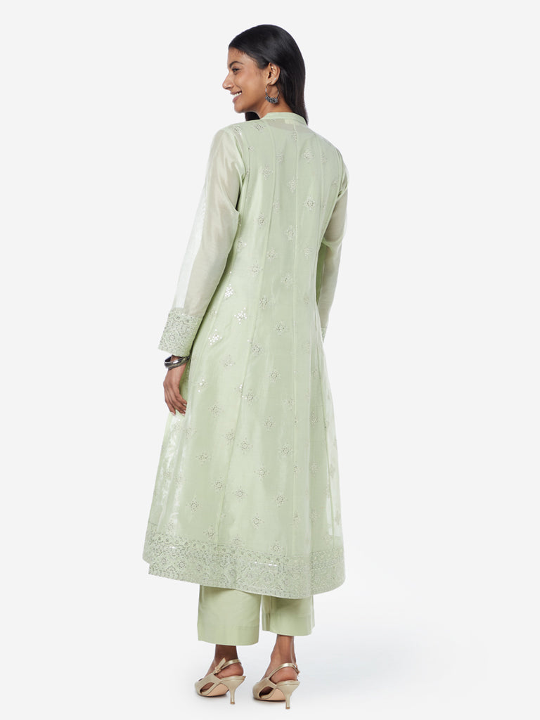 Vark Mint A-line Kurta, Chemise And Palazzo Set