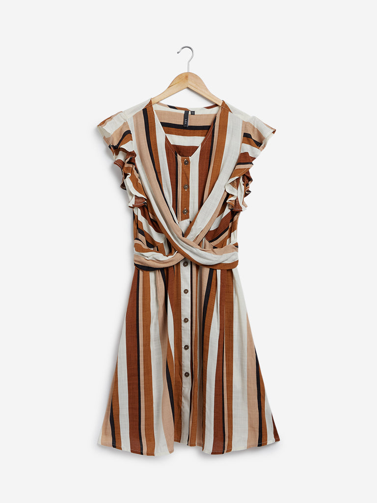 LOV Brown Striped Dress