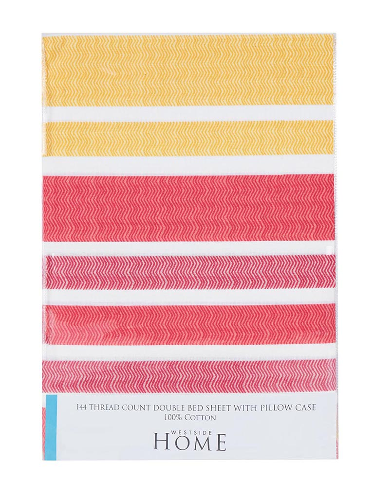 Westside Home Multicolour 144TC Striped Double Bedsheet Set