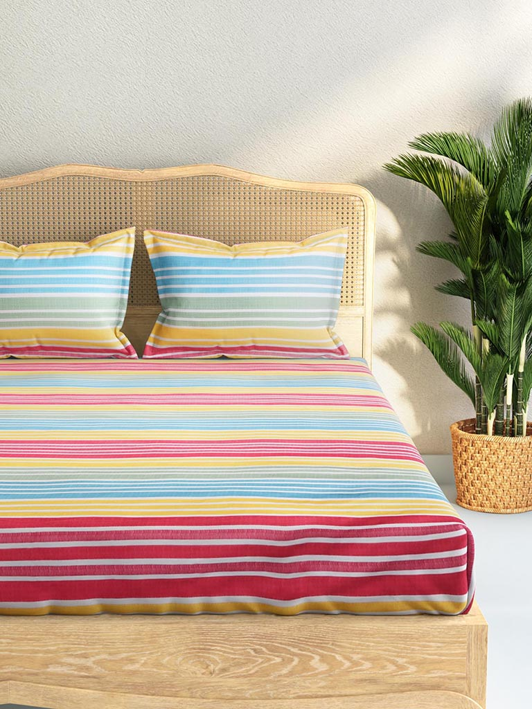 Westside Home Multicolour 144TC Striped King Bedsheet Set