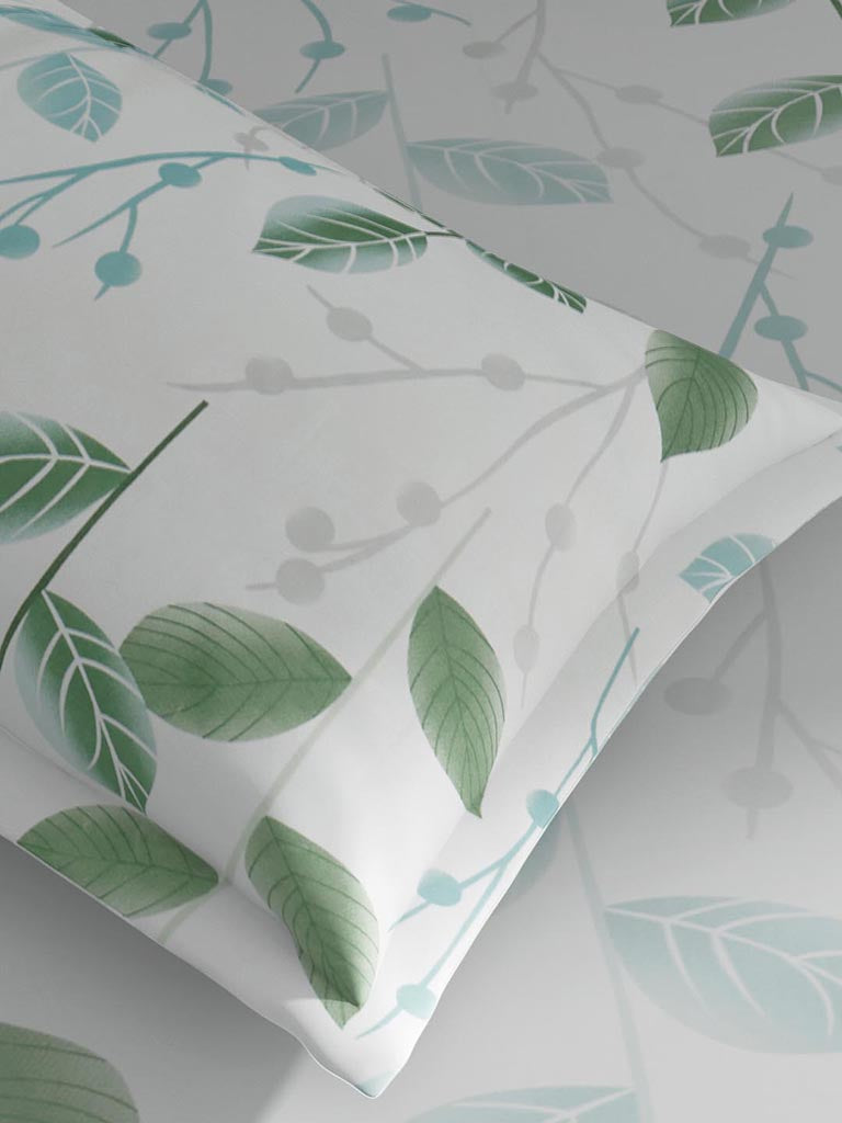 Westside Home Mint 144TC Leaf Print King Bedsheet Set