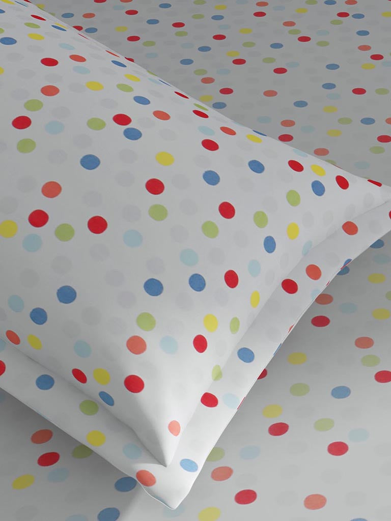 Westside Home Multicolour 144TC Polka Dot Single Bedsheet Set