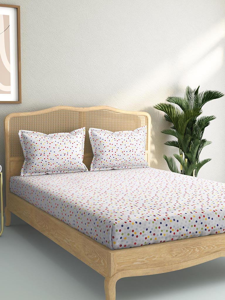 Westside Home Multicolour 144TC Polka Dot King Bedsheet Set