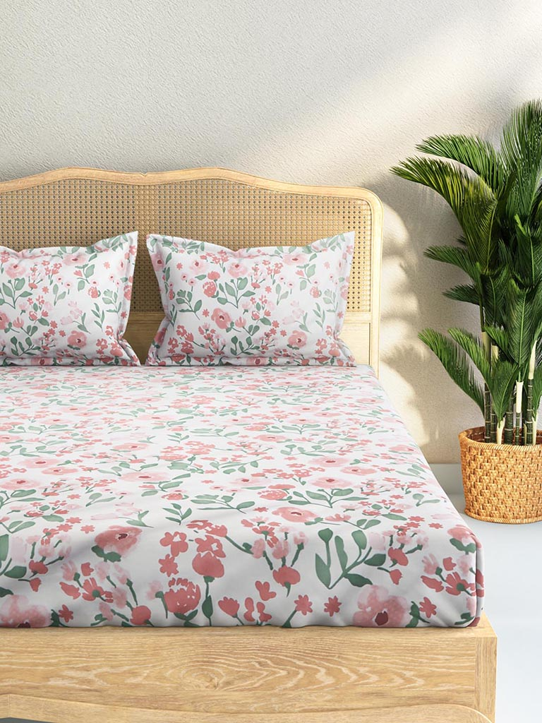 Westside Home Pink 144TC Rose Print Double Bedsheet Set