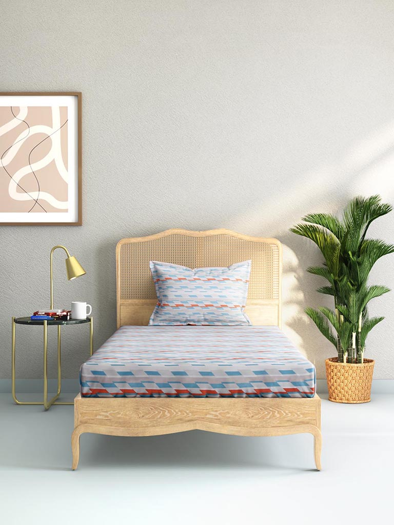 Westside Home Multicolour 144TC Printed Single Bedsheet Set