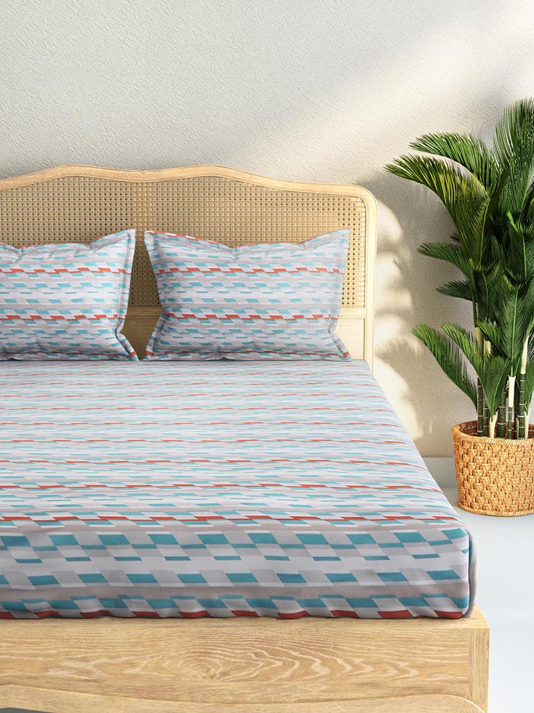 Westside Home Multicolour 144TC Printed King Bedsheet Set