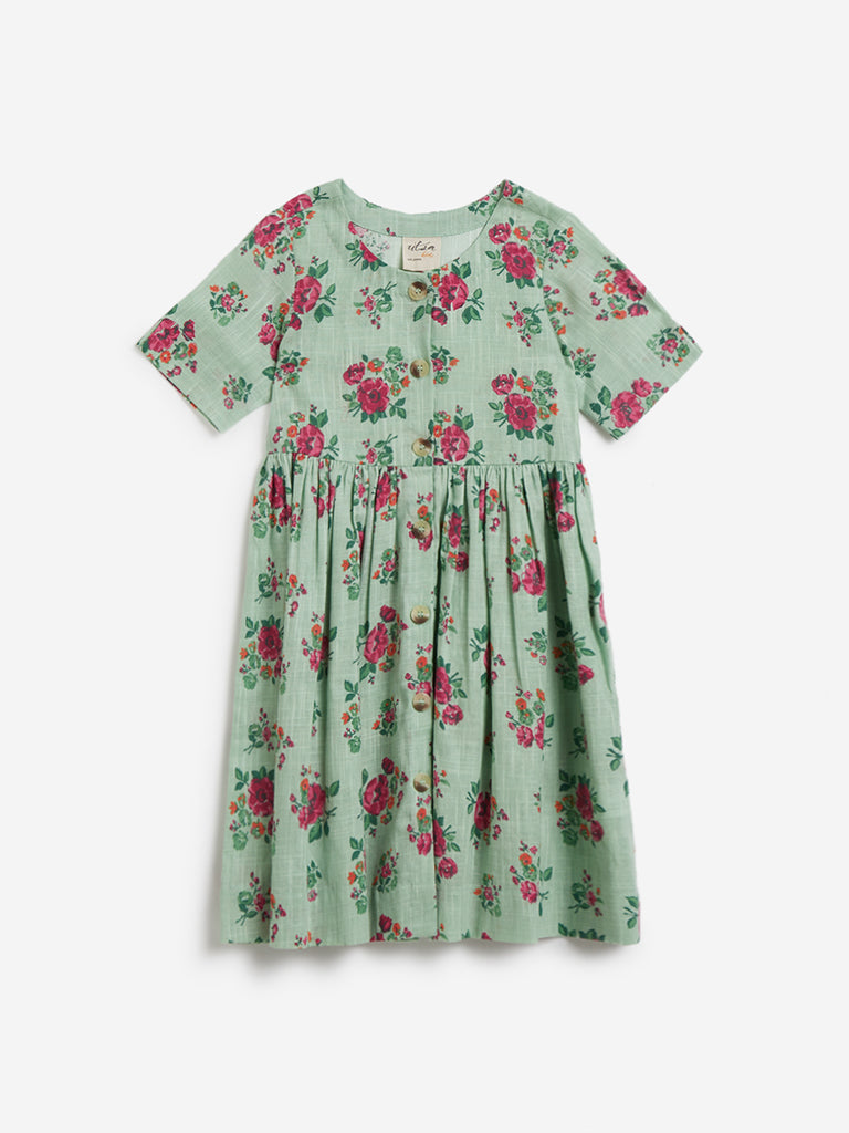 Utsa Kids Mint Floral Fit-And-Flare Dress